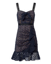 Petal Broderie Anglaise Mini Dress, NAVY, hi-res