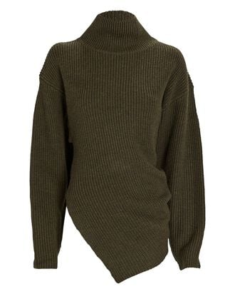 Asymmetrical Merino Wool Turtleneck Sweater, OLIVE/ARMY, hi-res