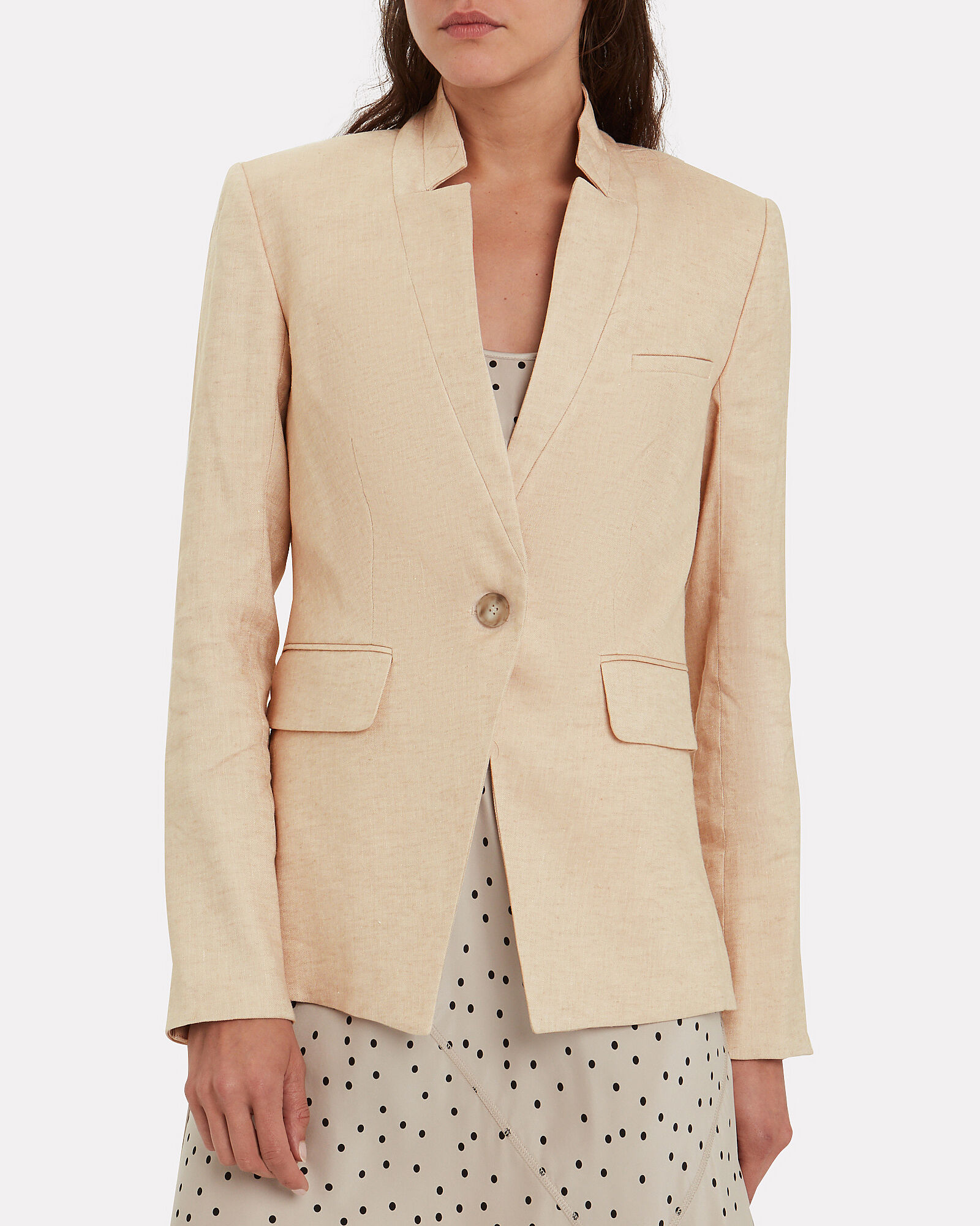 Upcollar Single Breasted Dickey Jacket, BEIGE, hi-res