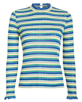 Angelica Striped Jersey Top, BLUE/YELLOW STRIPE, hi-res
