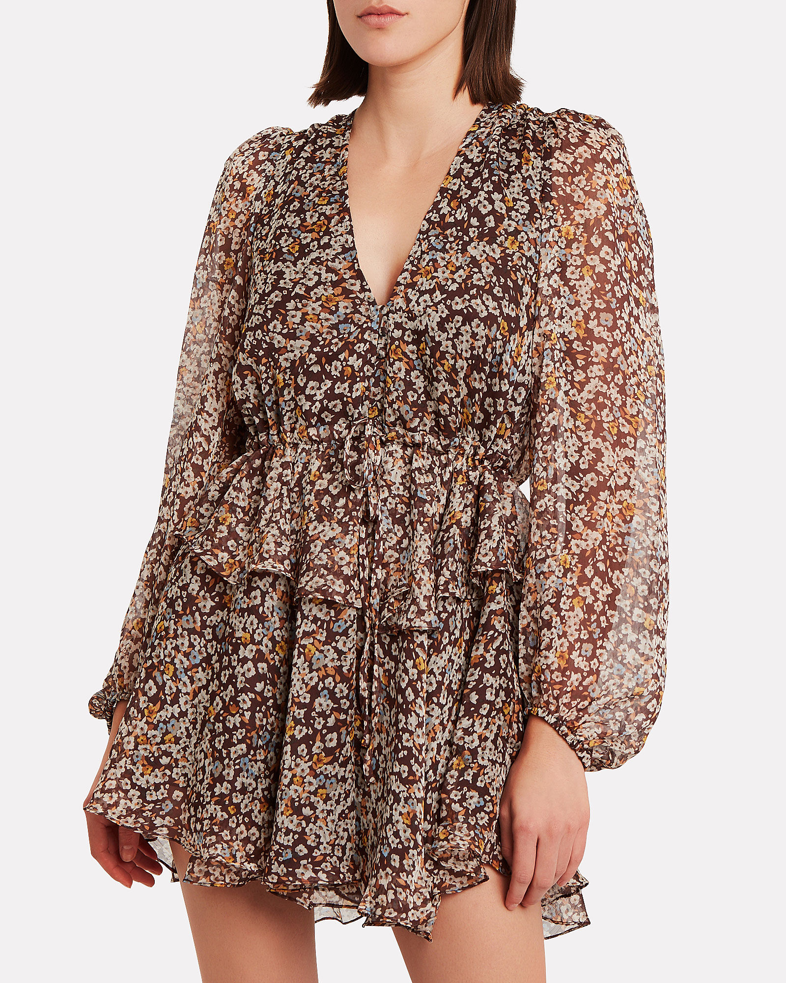 Garner Floral Chiffon Mini Dress, MULTI, hi-res