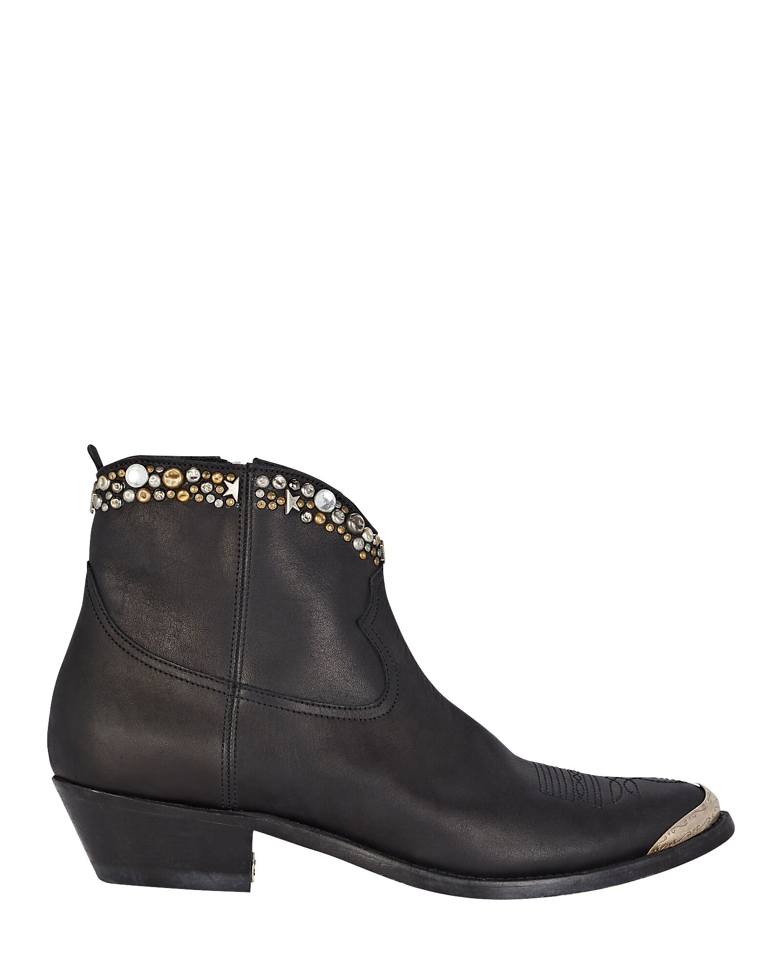 Young Leather Western Ankle Boots, BLACK, hi-res