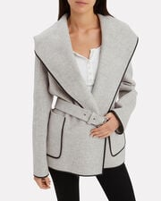 Double Face Wool Hooded Coat, GREY-LT, hi-res