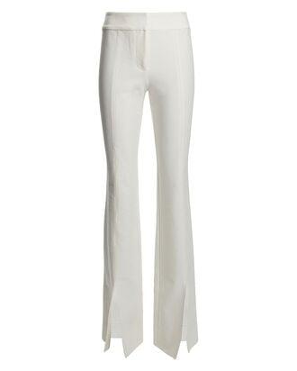 Maeve Flared Slit Hem Trousers, WHITE, hi-res