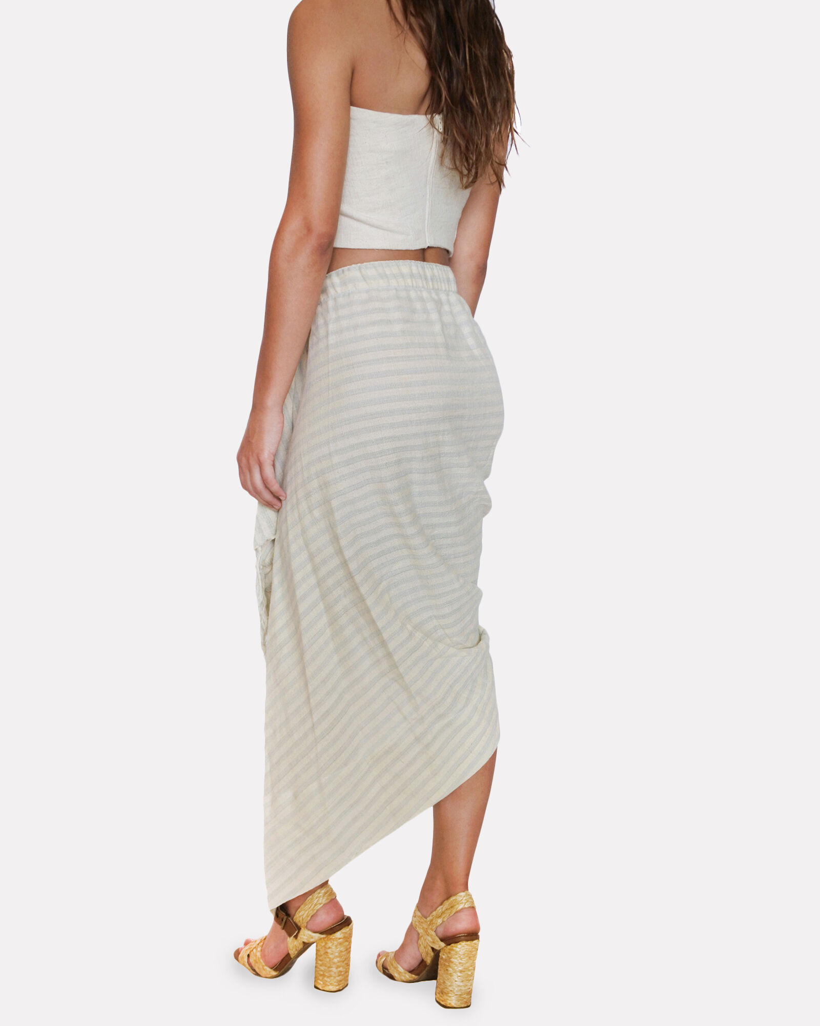 Tulum Ruched High-Low Skirt, GREY/BEIGE, hi-res