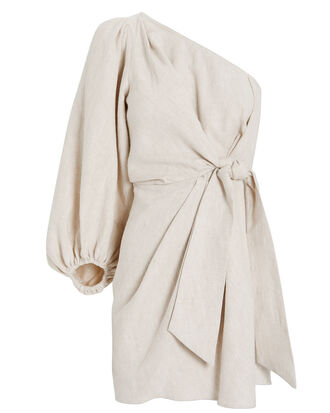 St. Martin One-Shoulder Linen Dress, IVORY, hi-res