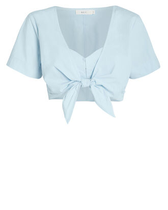 Levine Poplin Tie Crop Top, BLUE, hi-res