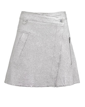 Metallic Wrap Mini Skirt, SILVER, hi-res