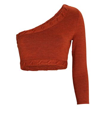 Cropped One-Shoulder Wool Sweater, RUST, hi-res