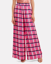 Miami Pink Check Silk Trousers, PINK, hi-res