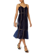 Velvet Paneled Midi Dress, BLUE-DRK, hi-res