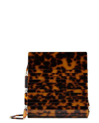 Dixie Tortoiseshell Acrylic Shoulder Bag, BROWN, hi-res