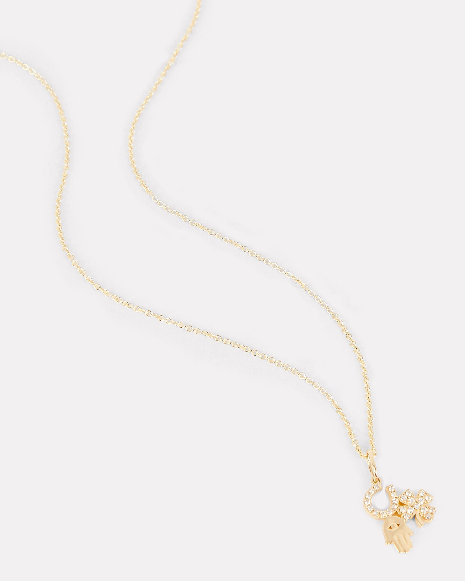 Luck & Protection Charm Necklace, GOLD, hi-res