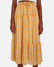 Quinn Tiered Floral Midi Skirt, YELLOW, hi-res