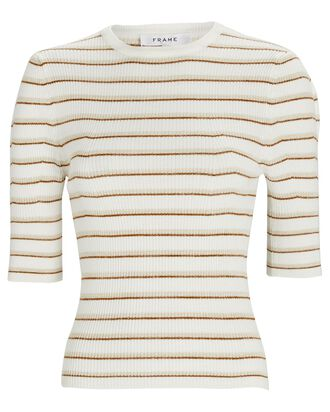 Striped Rib Knit Femme Top, IVORY/COPPER, hi-res