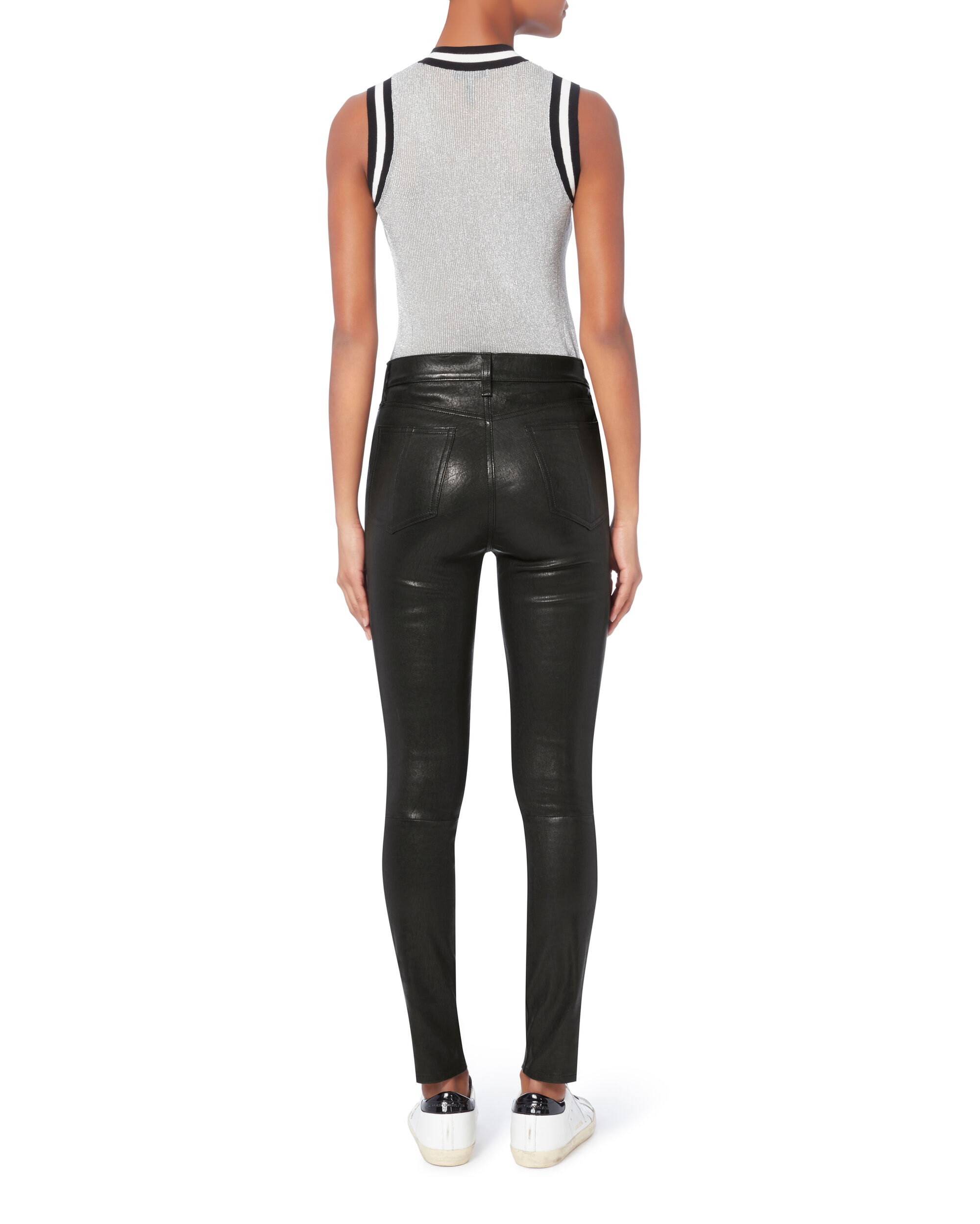 High-Rise Skinny Black Leather Pants, , hi-res