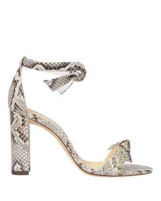 Clarita Double Bow Snakeskin Sandals, GREY SNAKESKIN, hi-res