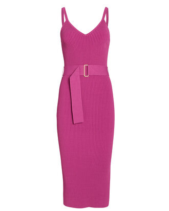 Belted Knit Midi Dress, PURPLE, hi-res