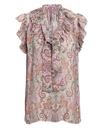 Unbridled Paisley Frill SilkTop, MULTI, hi-res