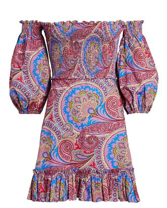 Alona Off-the-Shoulder Paisley Dress, MULTI, hi-res