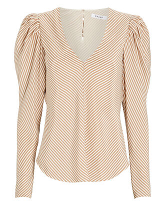 Shirred Striped Silk Blouse, BEIGE/WHITE, hi-res