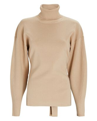 Eleanor Tie-Back Turtleneck Sweater, BEIGE, hi-res