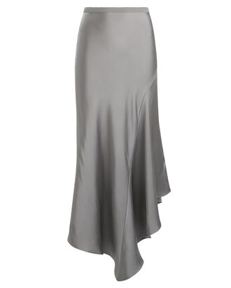 Bailey Asymmetrical Silk Skirt, SILVER, hi-res