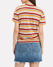Striped Linen Knotted Tee, YELLOW/STRIPES, hi-res