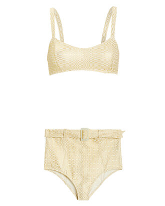 Genevieve Metallic High Waist Bikini Set, GOLD, hi-res