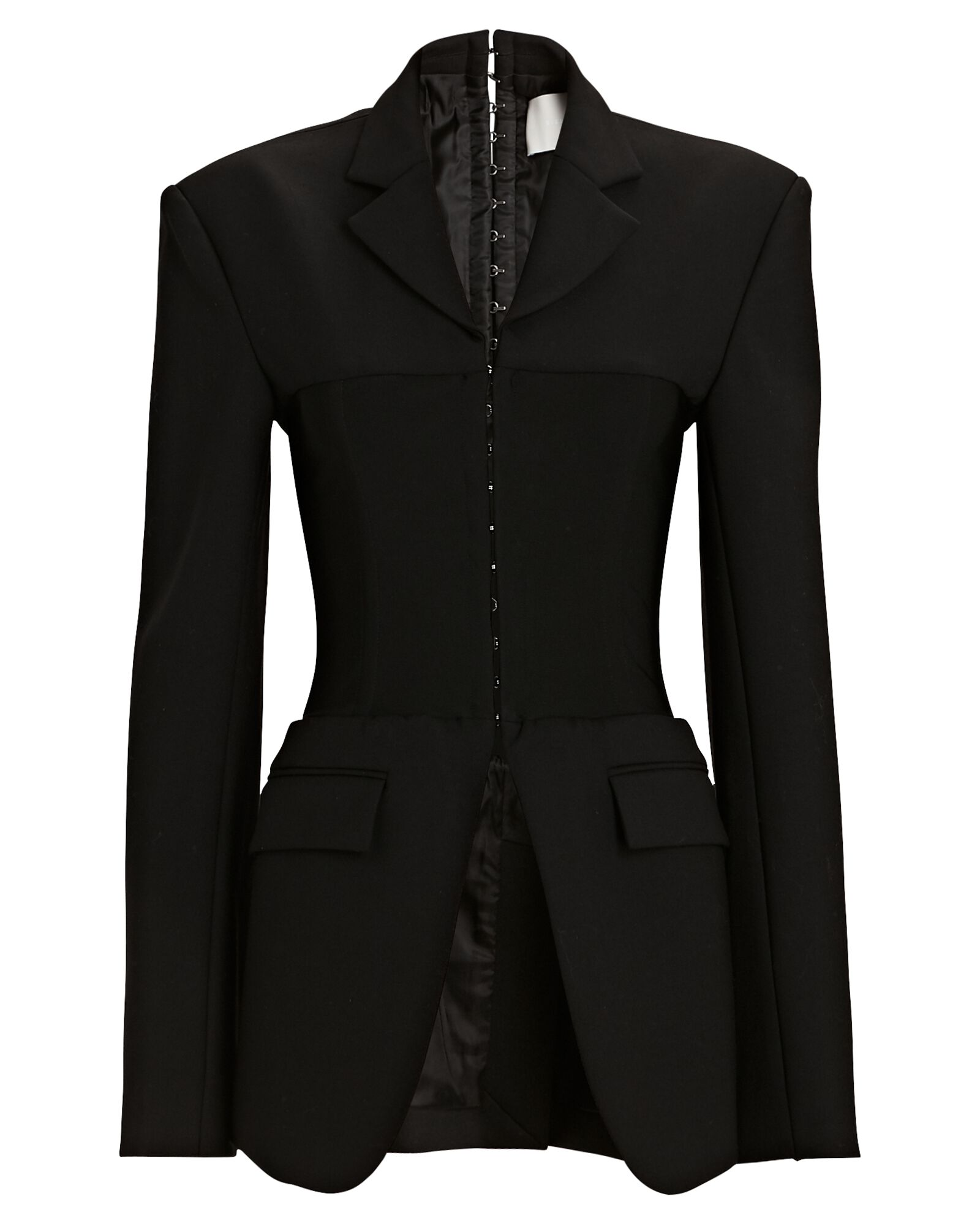 Compact Wool Tube Blazer, BLACK, hi-res