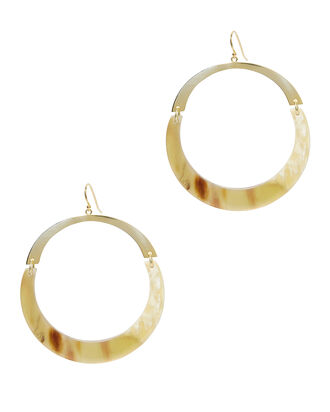Flat Gold Hoops, IVORY, hi-res