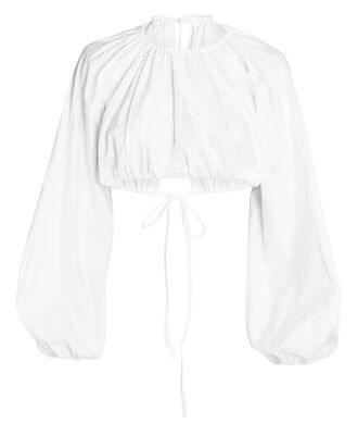 Milan Cotton Crop Top, WHITE, hi-res