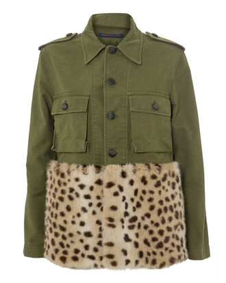 Leopard Faux Fur Field Jacket, OLIVE/ARMY, hi-res