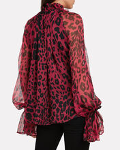 Leopard Crepe Silk Blouse, RED/LEOPARD, hi-res