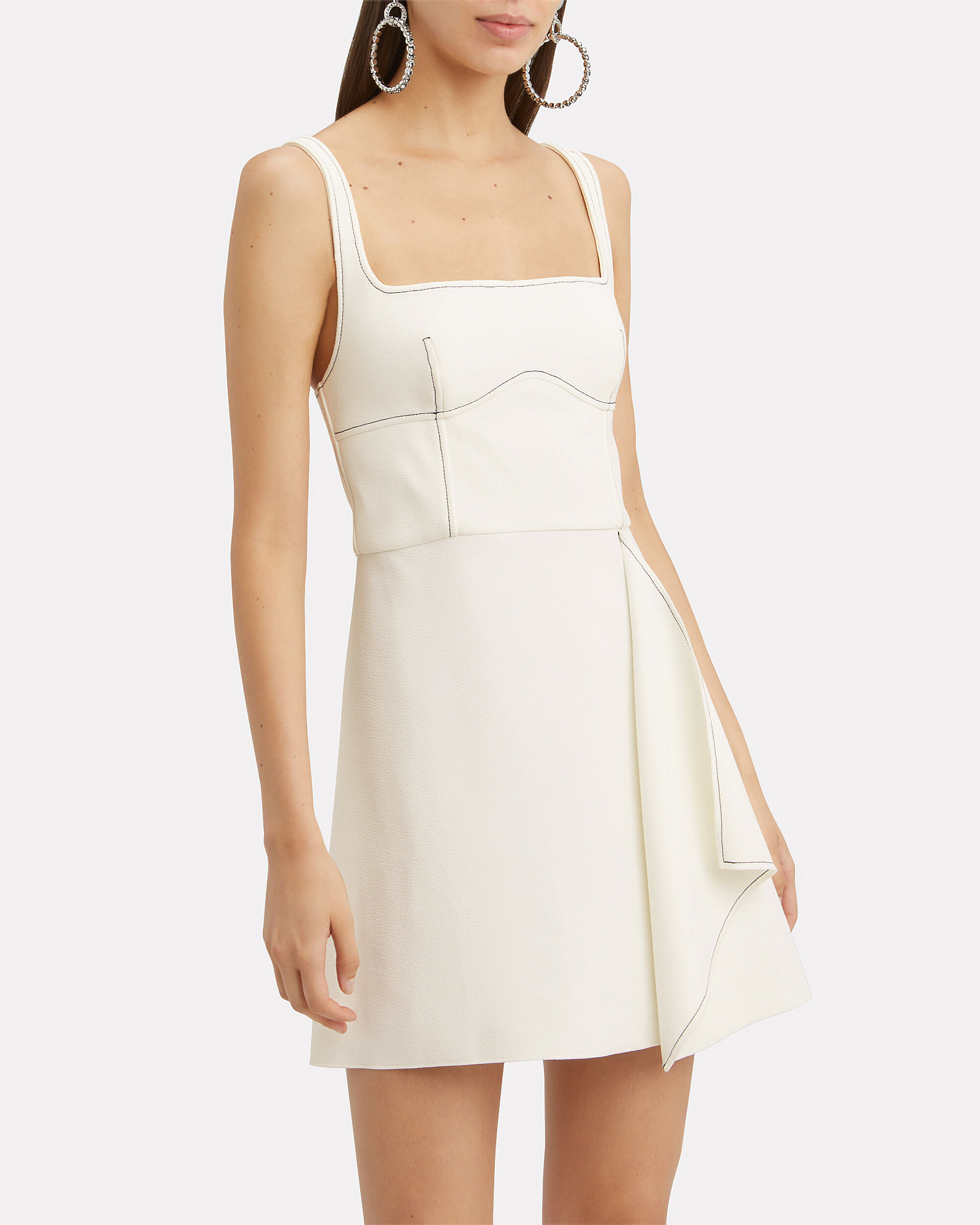 Contrast Stitch Mini Dress, IVORY, hi-res