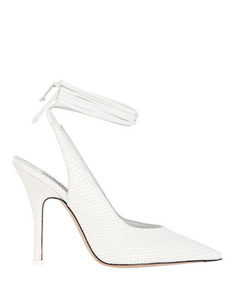 Venus Croc-Embossed Pumps, WHITE, hi-res