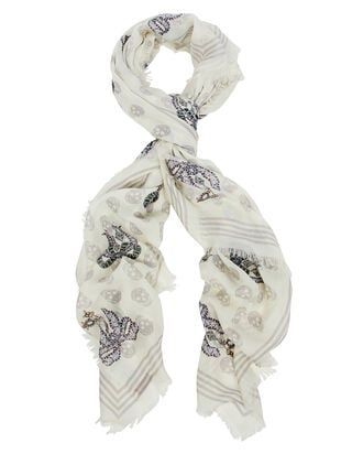 Skull & Bug Printed Scarf, WHITE/GREY, hi-res