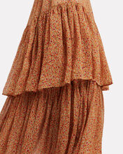 Tiered V-Neck Dress, ORANGE/FLORAL, hi-res