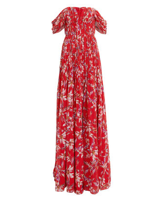 Kayla Off Shoulder Gown, RED/FLORAL, hi-res
