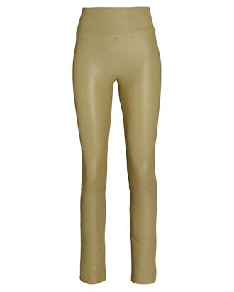 High-Waist Leather Ankle Leggings, SAND, hi-res