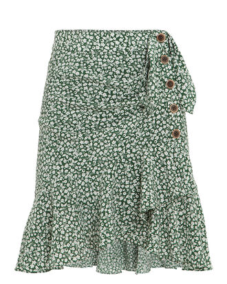 Kaia Ruffle Floral Mini Skirt, EVERGREEN FLORAL, hi-res