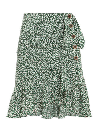 Kaia Ruffle Floral Mini Skirt, GREEN, hi-res