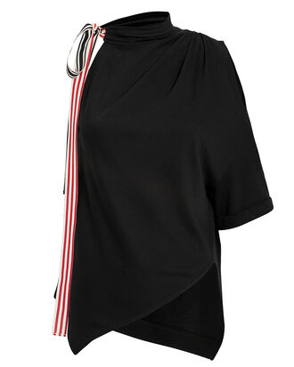 Cold Shoulder Handkerchief Top, BLACK/STRIPE, hi-res