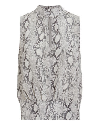 Party Silk Sleeveless Blouse, GREY/PYTHON, hi-res