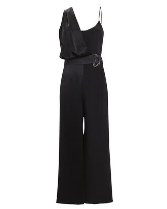 Crepe & Satin Wide Leg Jumpsuit, BLACK, hi-res