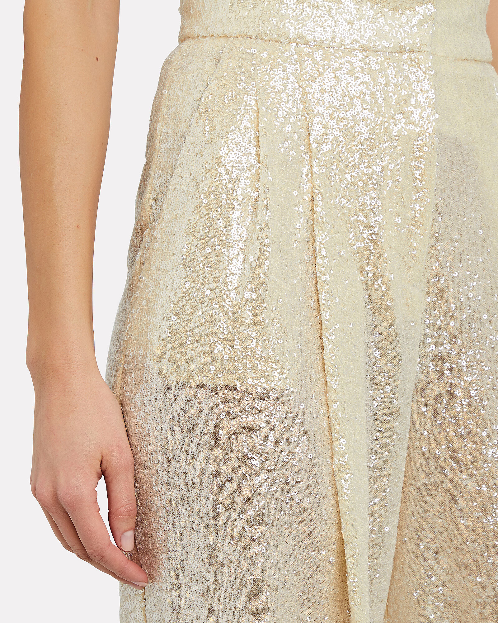 Sequined Wide-Leg Pants, IVORY, hi-res
