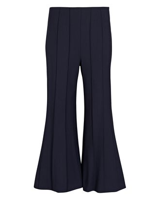Cropped Pintuck Virgin Wool Trousers, NAVY, hi-res