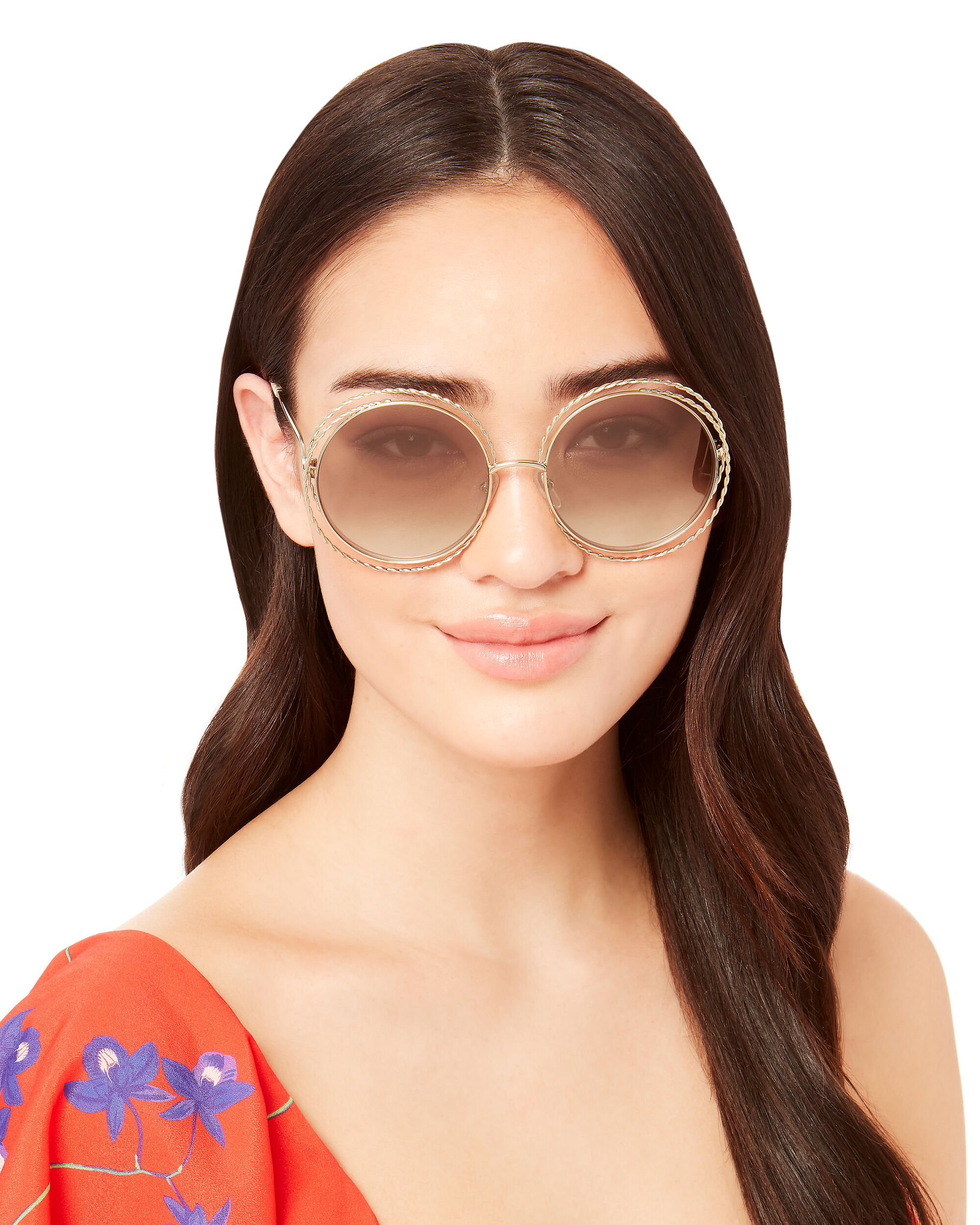 Rope Metal Round Sunglasses, GOLD, hi-res
