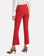 Red Spongy Wool Crop Flare Trousers, RED, hi-res