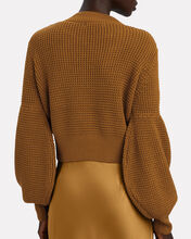 Warner Cropped Cable Knit Sweater, BROWN, hi-res
